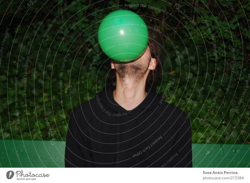 Human being Youth (Young adults) Green Adults Playing Sit Masculine Crazy Exceptional Balloon 18 - 30 years Trashy Joie de vivre (Vitality) Blow Colour Sweater