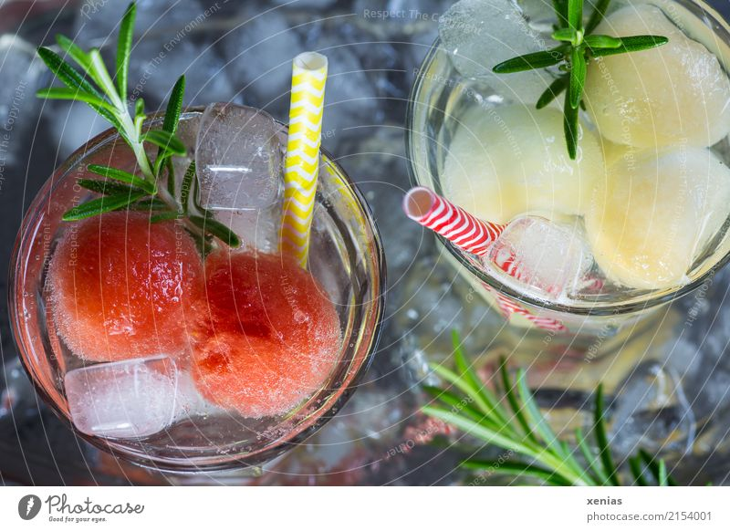 Two glasses of soft drink with honey- and watermelon, rosemary, ice cubes and drinking straw Cold drink Beverage fruit Herbs and spices Water melon Honeydew