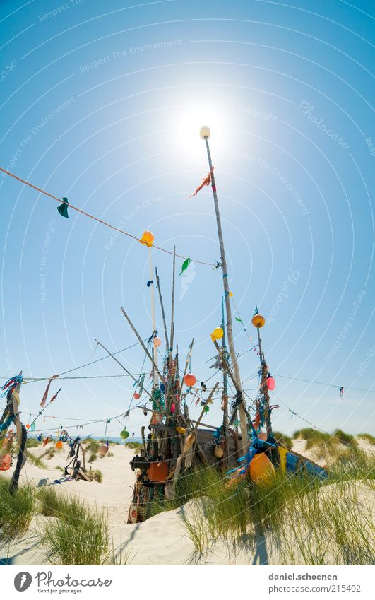 amrum Vacation & Travel Summer Summer vacation Beach Island Cloudless sky Beautiful weather North Sea Bright Blue Multicoloured Deserted Copy Space top Day