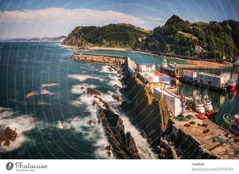 Ondarroa Landscape Clouds Horizon Summer Beautiful weather Rock Waves Coast Bay Ocean House (Residential Structure) Navigation Fishing boat Motorboat Harbour