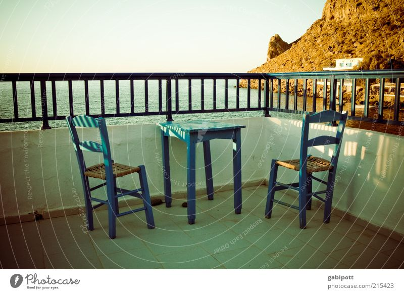 Ocean Blue Summer Beach Vacation & Travel Calm Far-off places Relaxation Coast Empty Island Vantage point Beautiful weather Terrace Handrail Harmonious