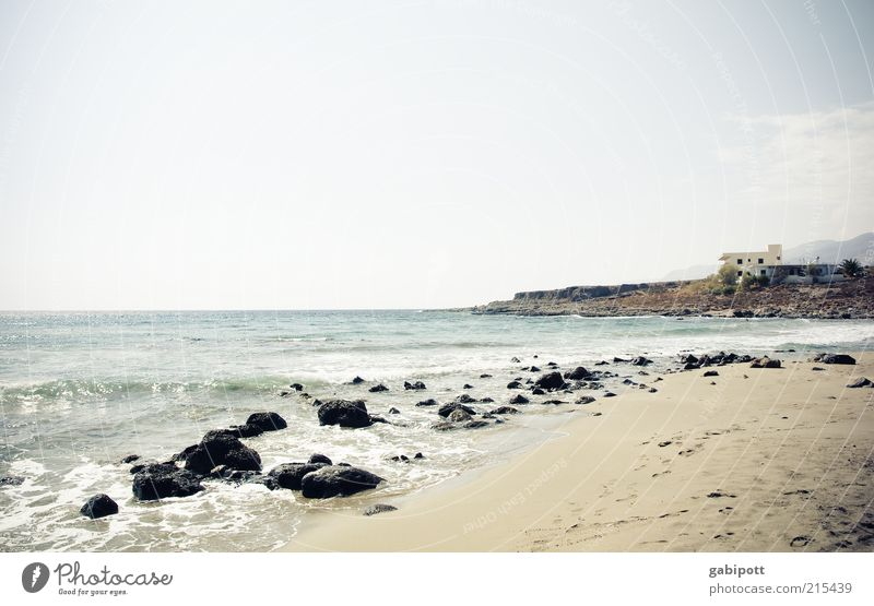 Sky Ocean Summer Beach Vacation & Travel Calm Loneliness Far-off places Life Relaxation Freedom Stone Waves Rock Island Tourism