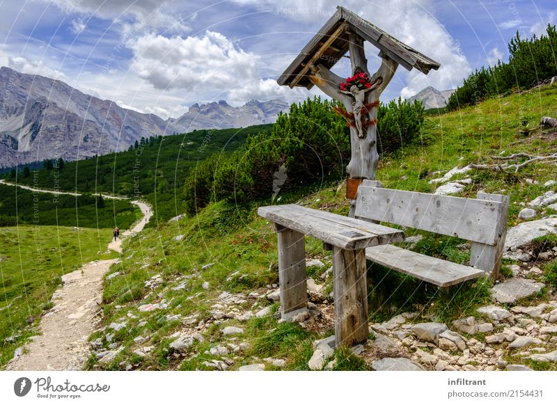 Dolomites - Alta Via 1 Vacation & Travel Far-off places Freedom Mountain Hiking Landscape Meadow Hill Rock Alps Bench Crucifix Blue Gray Green Contentment