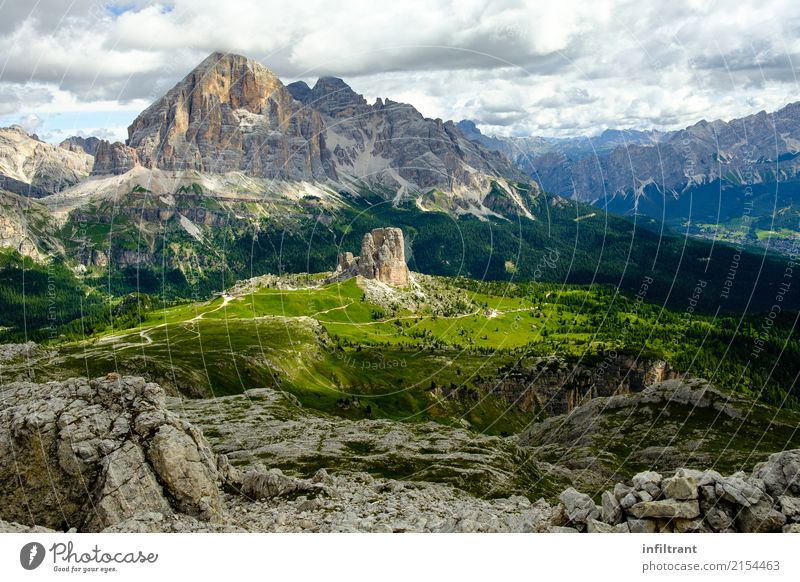Dolomites - View of Cinque Torri and Tofana di Rozes Adventure Far-off places Mountain Hiking Landscape Forest Hill Rock Alps Peak Vacation & Travel Exceptional