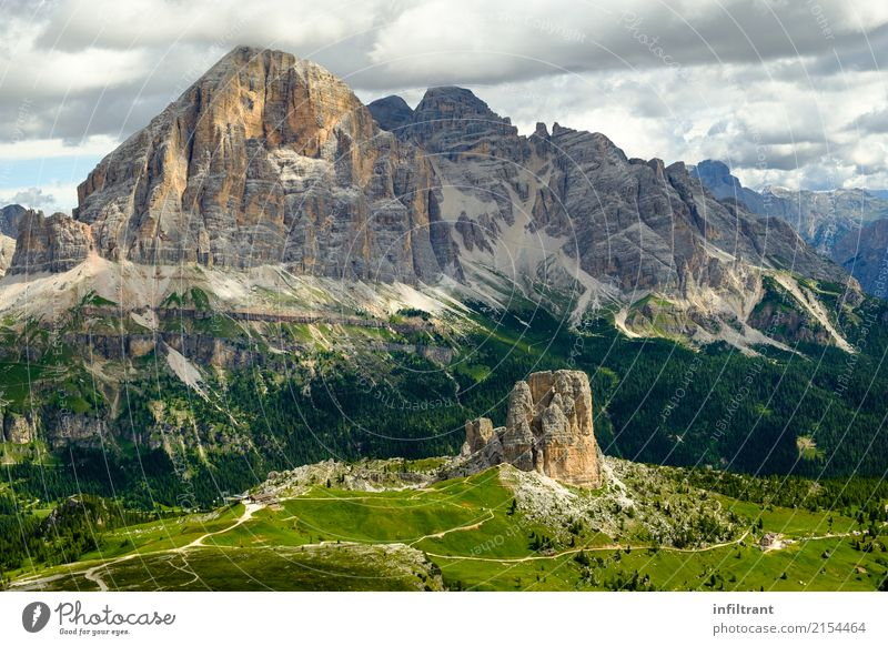 Dolomites - View of Cinque Torri and Tofana di Rozes Vacation & Travel Adventure Far-off places Mountain Hiking Environment Nature Landscape Rock Alps Peak