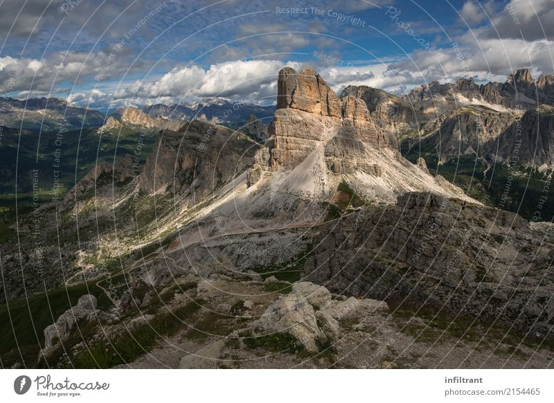 in the Dolomites Vacation & Travel Far-off places Freedom Mountain Hiking Landscape Clouds Summer Rock Alps Peak Italy Natural Beautiful Brown Gray Calm Humble