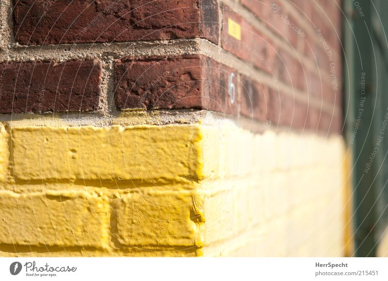 Yellow Wall (building) Dye Wall (barrier) Building Brown Facade Corner Border Seam Paintwork Brick wall