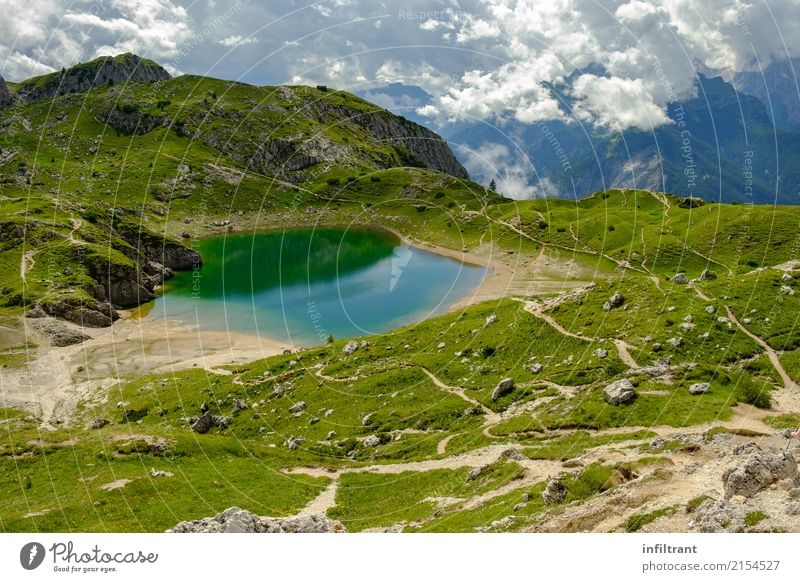 Dolomites Lago Coldai Vacation & Travel Adventure Summer Mountain Hiking Nature Landscape Water Hill Alps Lake Natural Wild Blue Green Turquoise Moody Beautiful