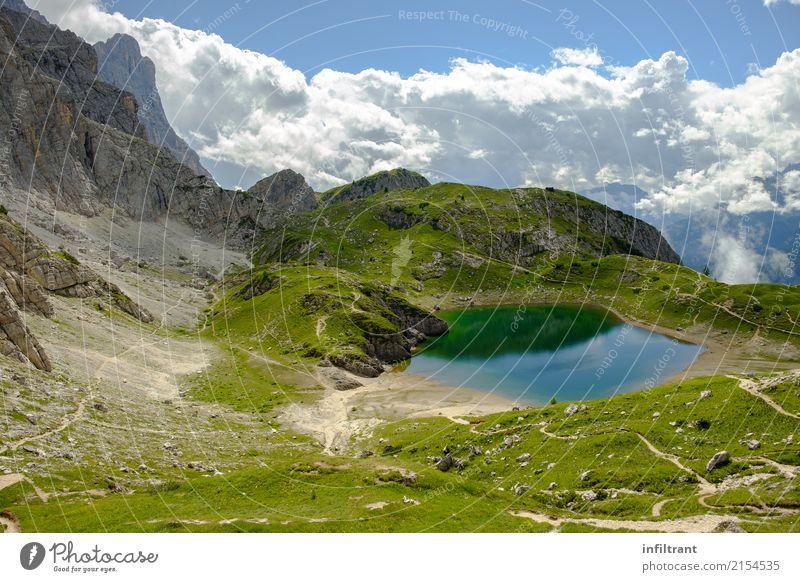 Dolomites, Lago Coldai Vacation & Travel Far-off places Freedom Summer Mountain Hiking Nature Landscape Water Hill Lake Lago di Coldai Esthetic Wild Blue Gray