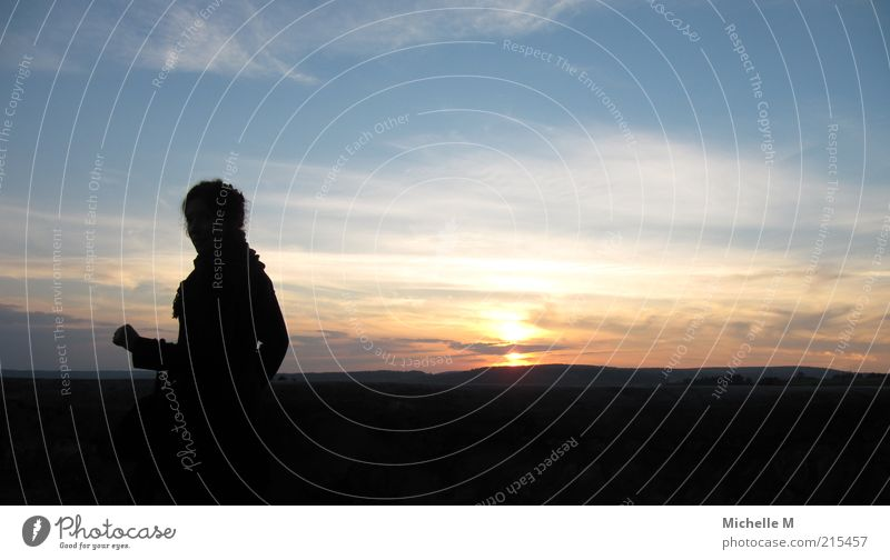 farsightedness Feminine 1 Human being Landscape Sky Sunrise Sunset Beautiful weather Calm Longing Wanderlust Colour photo Exterior shot Copy Space right