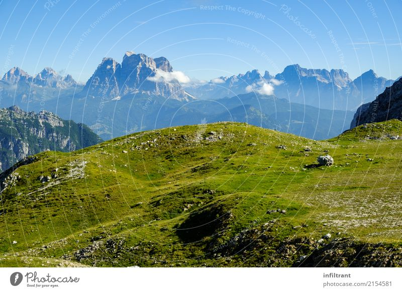 View over the peaks of the Dolomites Adventure Far-off places Mountain Hiking Landscape Rock Alps Peak Natural Wild Blue Green Beautiful Grateful Calm Discover