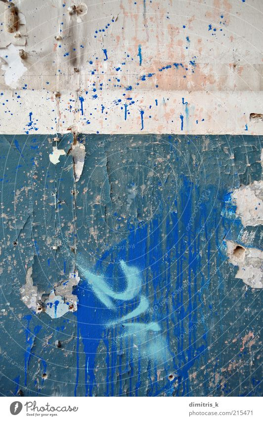 peeling wall Old Blue Colour Wall (building) Architecture Building Wall (barrier) Background picture Dirty Decline Ruin Crack & Rip & Tear Surface Weathered