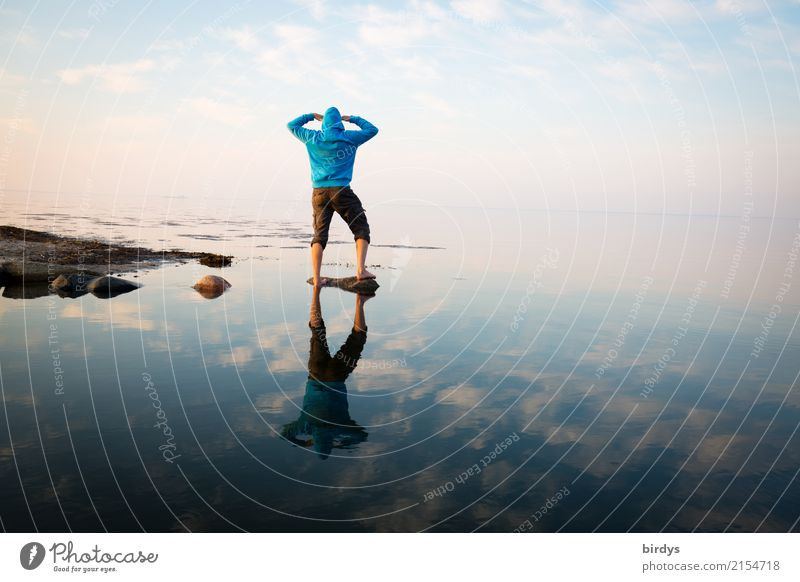 Human being Sky Blue Summer Water Ocean Loneliness Calm Adults Coast Pink Horizon Masculine Esthetic 45 - 60 years Stand