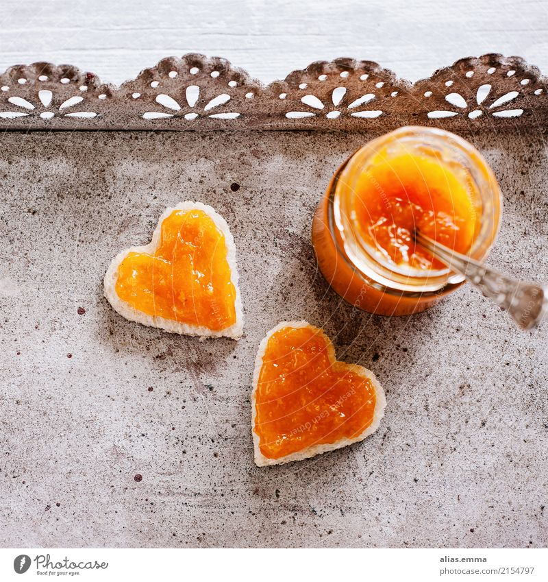 Brunch.Time <3 Jam Apricot Heart-shaped Sincere Breakfast Toast Glass Invitation Love Infatuation Fruit Nutrition Self-made Summer Rustic Healthy Eating Dish