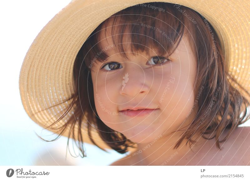 Girl with a straw hat 1 Human being Child Beautiful Joy Adults Life Lifestyle Emotions Style Family & Relations Hair and hairstyles Moody Contentment Elegant