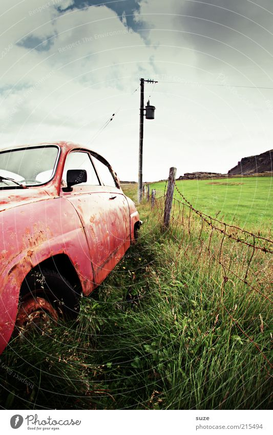 rust bucket Environment Nature Elements Sky Clouds Summer Grass Meadow Means of transport Vehicle Car Vintage car Rust Old Broken Retro Pink Past Time