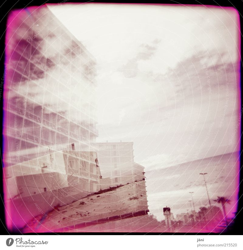 Nature Water Summer Ocean Beach Clouds House (Residential Structure) Environment Architecture Waves Wind Pink Fog Island High-rise Broken