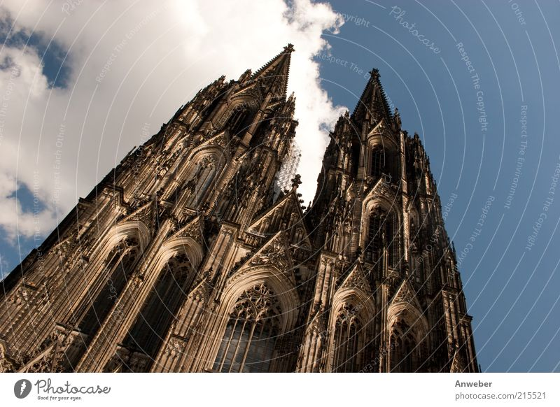 Cologne Cathedral in a sloping position Germany North Rhine-Westphalia Europe Old town High-rise Church Dome Tower Manmade structures Building Architecture