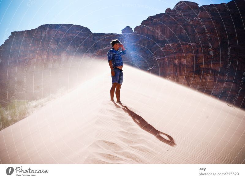 Human being Sky Man Summer Beach Adults Landscape Sand Stone Air Earth Wind Masculine Elements Jeans Observe
