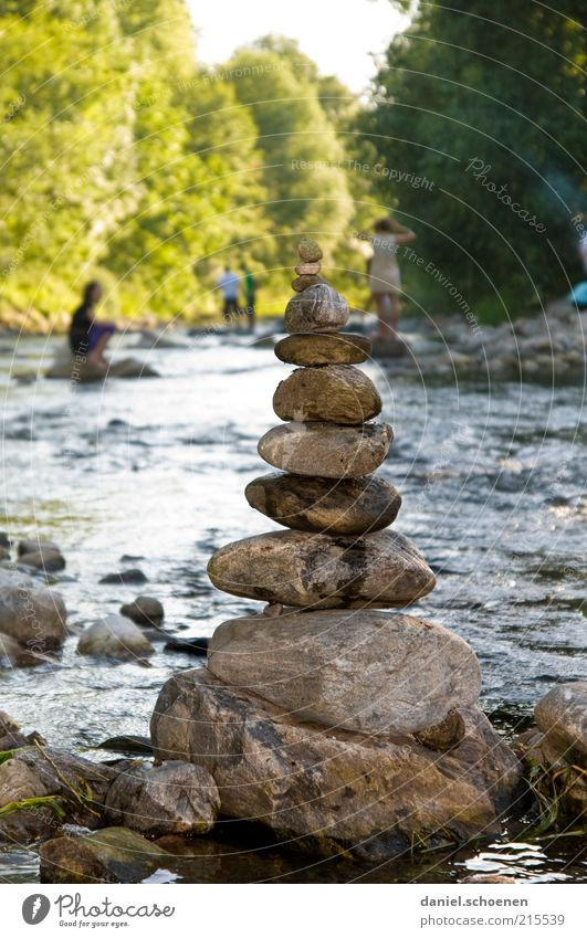 Lonely - zweisam - Dreisam Leisure and hobbies Playing Trip Summer Water Beautiful weather River bank Relaxation Friendship Stone Day Shadow Stack Consecutively