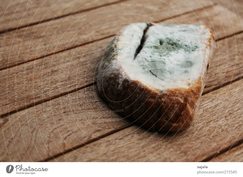 Mom, do I really have to eat that bread? Food Bread Nutrition Table Disgust Brown Gray Decline Mold Inedible Wood Wooden table Old Colour photo Exterior shot