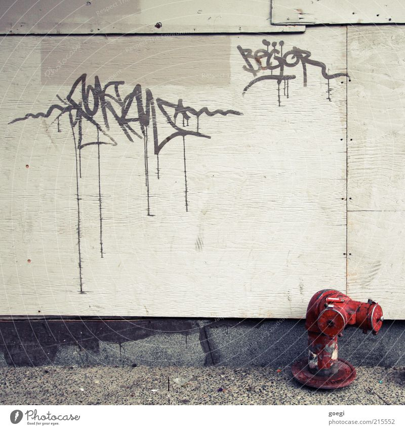Begor Culture Youth culture Subculture Facade Fire hydrant Concrete Wood Sign Graffiti Old Dirty Trashy Decline Deprived area Colour photo Exterior shot