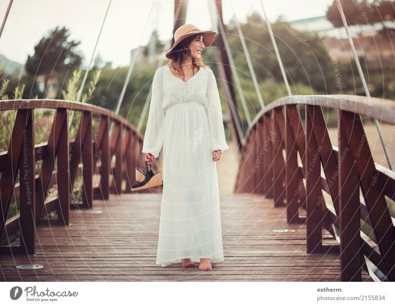 Smiling girl with hat Lifestyle Elegant Style Wellness Relaxation Vacation & Travel Trip Freedom Human being Feminine Young woman Youth (Young adults) Woman
