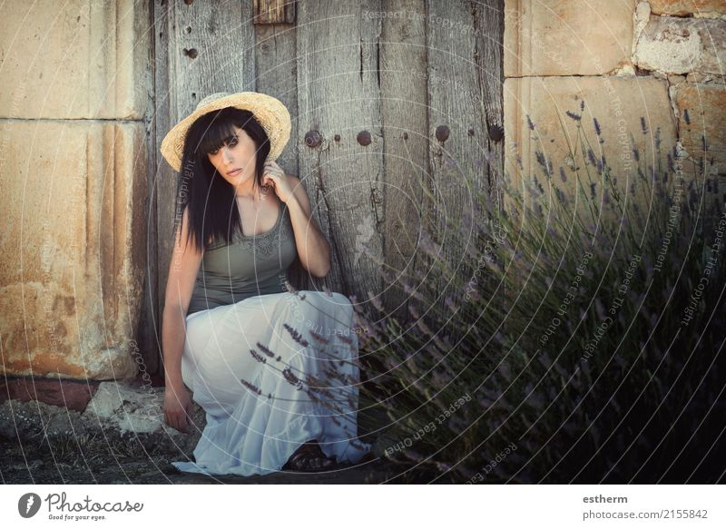 Pensive young woman Lifestyle Elegant Style Beautiful Wellness Human being Feminine Young woman Youth (Young adults) Woman Adults 1 30 - 45 years Garden