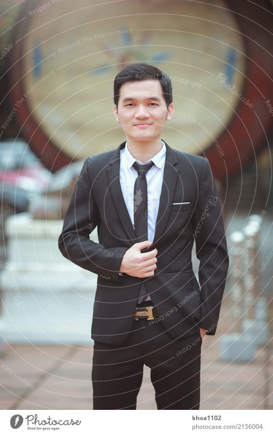 Fashion students Youth (Young adults) Town Young man Healthy Style Hair and hairstyles Masculine Office Elegant Stand Success Smiling Adult Education Society