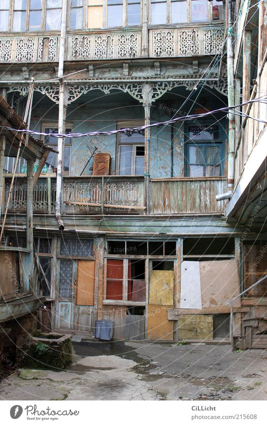 Tblisi Backyard Old town House (Residential Structure) Hut Manmade structures Building Facade Poverty Dark Blue Brown Multicoloured Yellow Gray Red Sadness