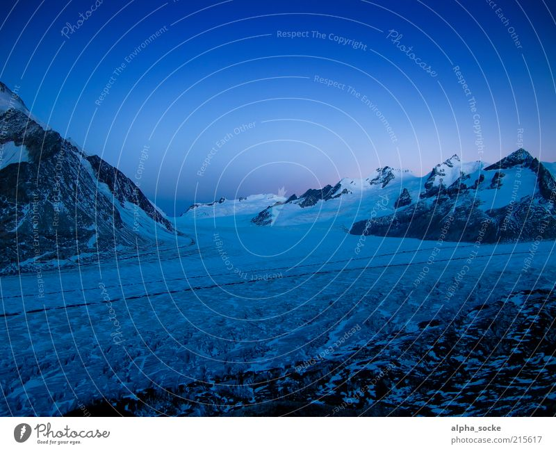 Dawn at the Aletsch Glacier Nature Landscape Cloudless sky Sunrise Sunset Climate change Alps Mountain virgin yoke Cold Blue Uniqueness Freedom Interlaken