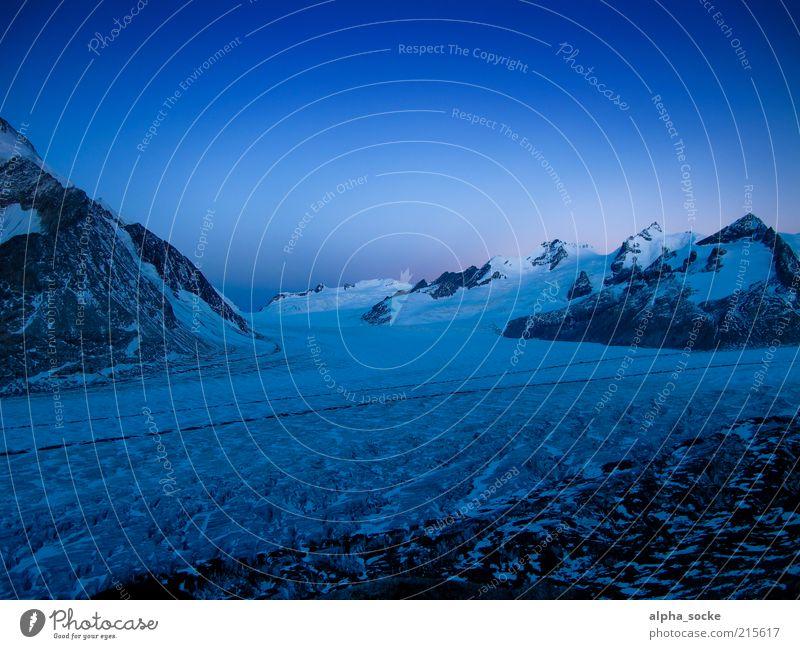 Nature Blue Cold Freedom Mountain Landscape Uniqueness Alps Glacier Climate change Cloudless sky Sunrise