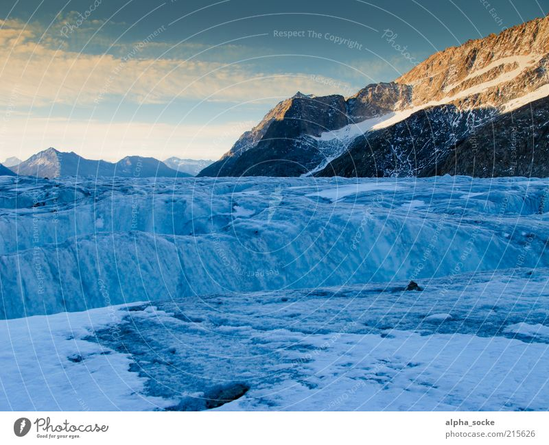 Sunrise at the Aletsch Glacier Landscape Sunset Mountain Exceptional Cold Blue Authentic Loneliness Uniqueness Environmental protection Transience Change