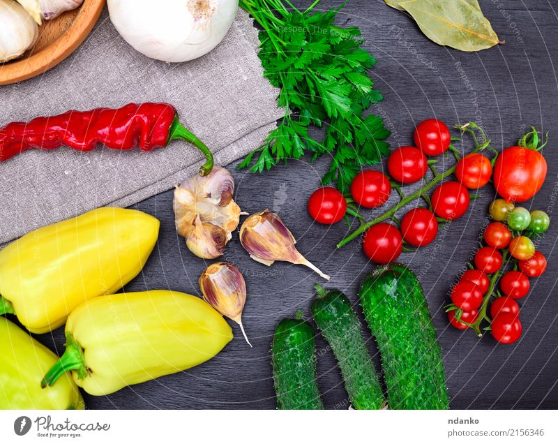 Fresh tomato, cucumber and pepper Food Vegetable Herbs and spices Kitchen Wood Eating Green Red Black Tomato Cherry vintage background Ingredients Harvest ripe