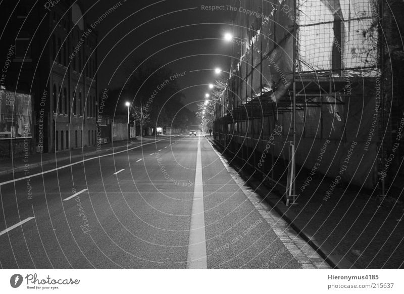 Lonely Road Outskirts Deserted House (Residential Structure) Wall (barrier) Wall (building) Dark Black White Black & white photo Exterior shot Night Shadow