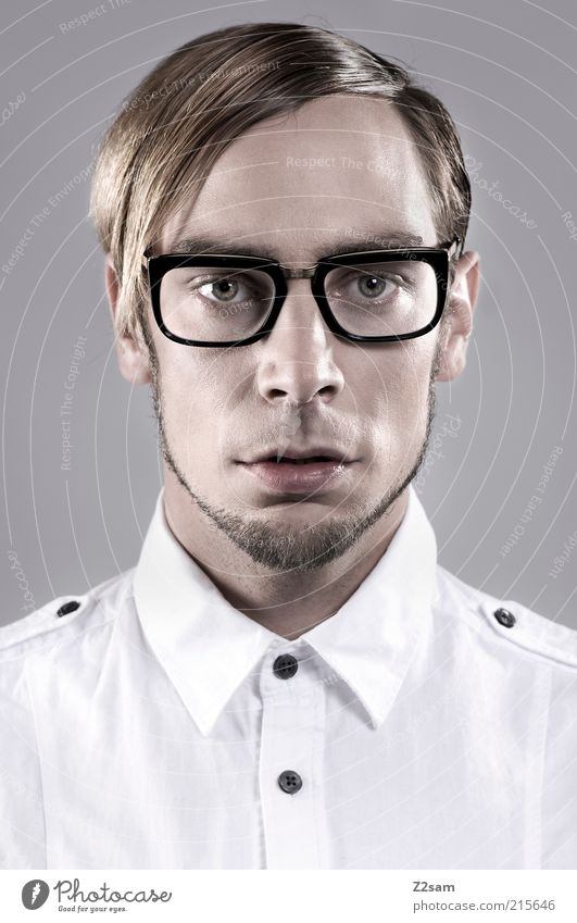 Fashion Nerd Style Hair and hairstyles Human being Masculine Young man Youth (Young adults) Head 18 - 30 years Adults Shirt Eyeglasses Exceptional Elegant