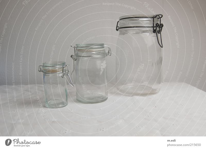 preserving jars Bowl Packaging Preserving jar Glass Stand Bright White Esthetic Colour photo Size Small Large Medium Reflection Deserted Copy Space bottom Empty