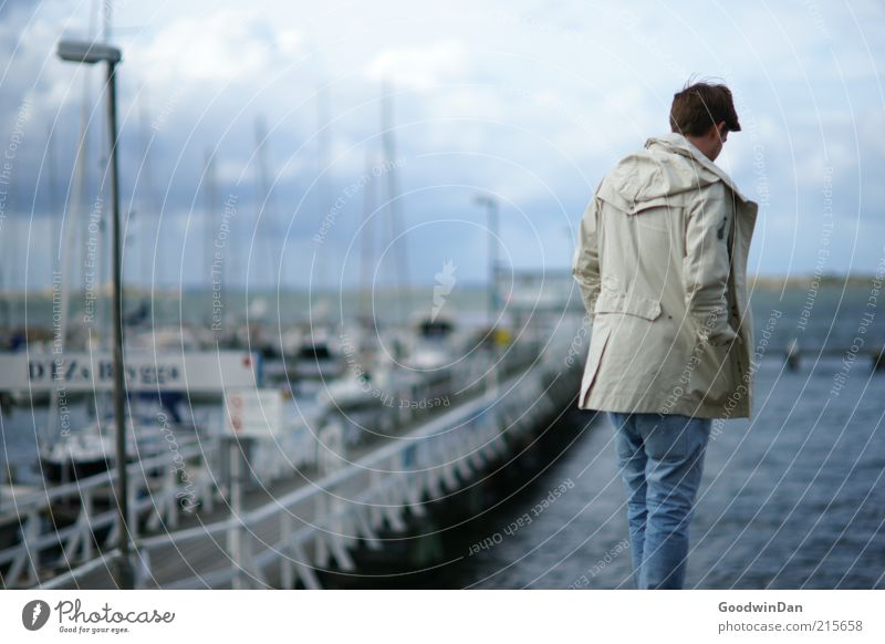 port melancholy Human being Masculine Man Adults 1 Environment Nature Water Coast Ocean Cold Sadness Meditative Loneliness Harbour Colour photo Exterior shot