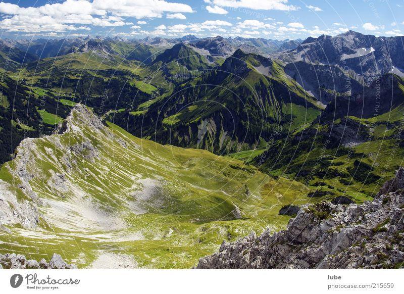 Nature Summer Mountain Freedom Landscape Environment Horizon Rock Climate Alps Hill Peak Beautiful weather Alpine pasture Austria