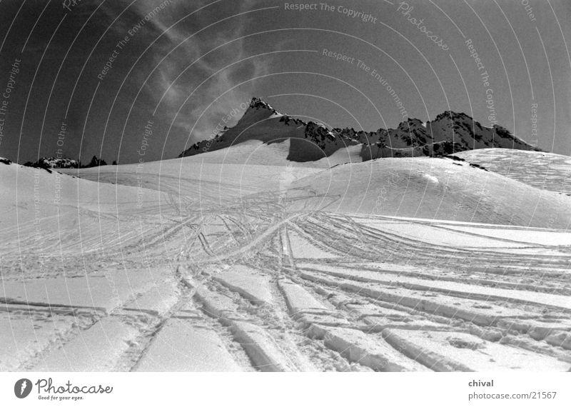 silvretta Back-light Cirrus Mountain Snow Tracks Black & white photo