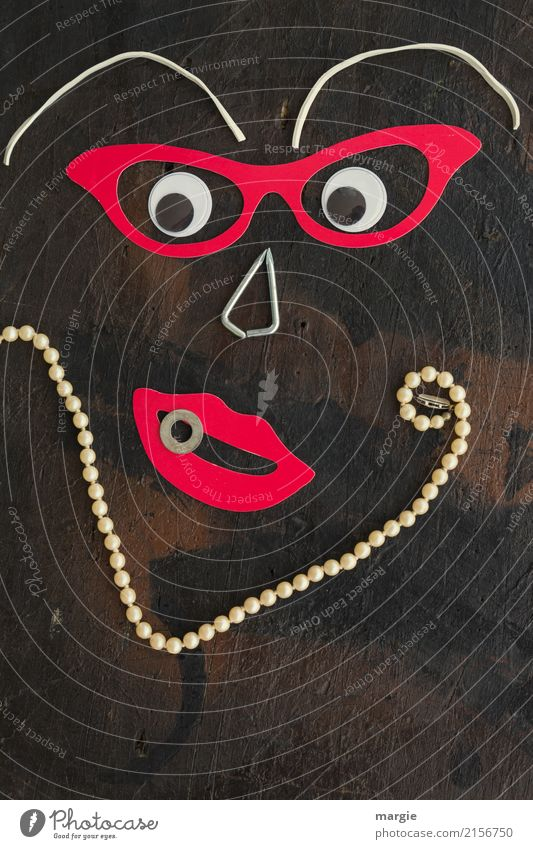 emotions...cool faces: collage Madame Perle, with pearl necklace and glasses Elegant Design Exotic Joy Human being Feminine Woman Adults Face Mouth 1 Brown Red