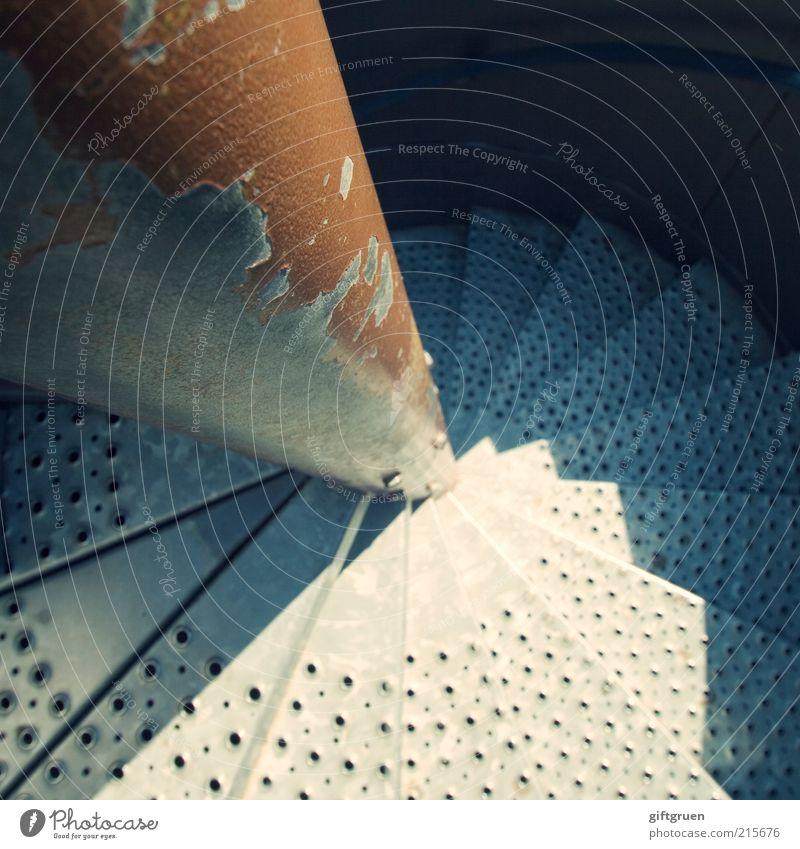 Old Metal Stairs Round Deep Narrow Upward Spiral Downward Steep Direction Rotation Descent Vertigo Alarming Perspective