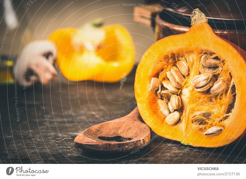 Half pumpkin with seeds and cooking spoon Food Vegetable Nutrition Organic produce Vegetarian diet Diet Spoon Style Design Healthy Eating Life Table Kitchen