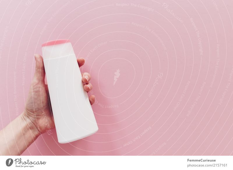 Hand Pink Fingers To hold on Plastic Cosmetics Containers and vessels PE bottle