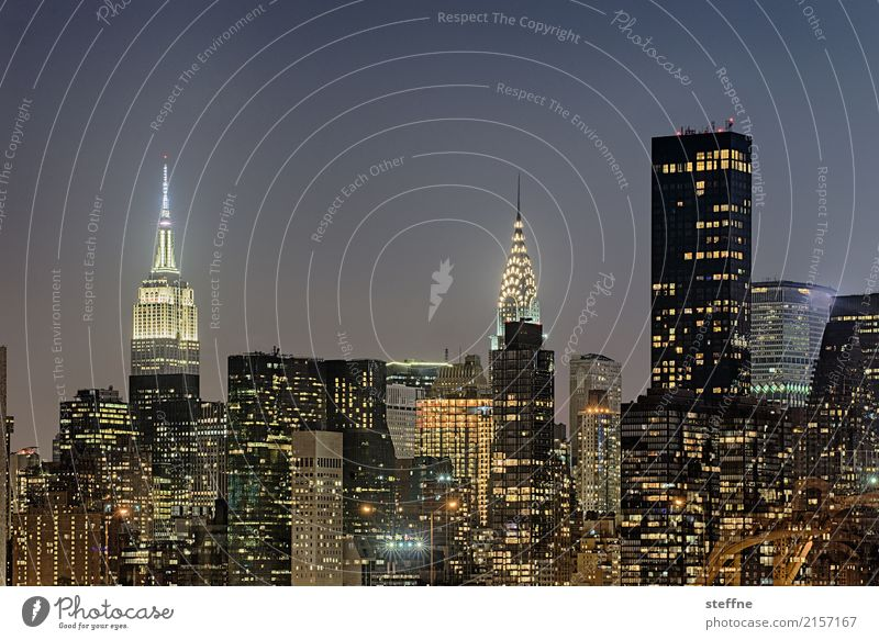from Queens 03 New York City USA Manhattan High-rise Skyline Summer City life Night Long exposure Night shot Chrysler Building Empire State building
