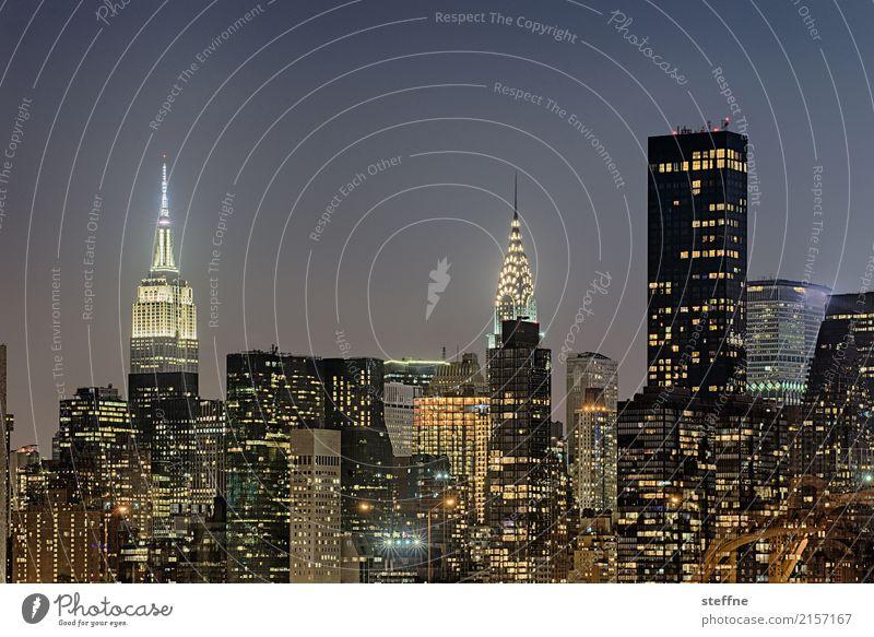 Summer City life High-rise USA Skyline Manhattan New York City Night shot Empire State building Chrysler Building