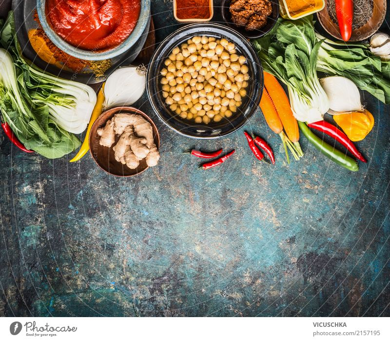Vegetarian cooking ingredients for chickpea dish Food Vegetable Lettuce Salad Herbs and spices Nutrition Lunch Dinner Organic produce Vegetarian diet Diet