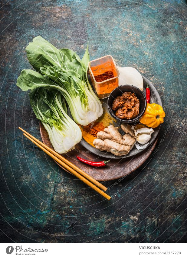 Asian cooking with Pak Choi, chopsticks and spices Food Herbs and spices Nutrition Organic produce Vegetarian diet Diet Asian Food Crockery Style Design