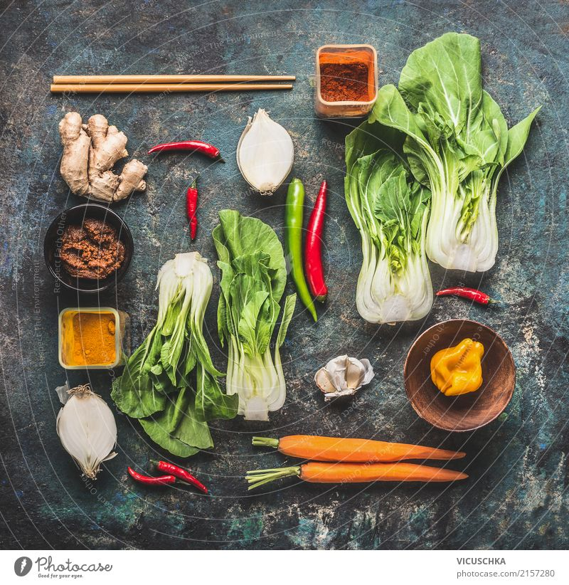 Asian Cuisine Ingredients Food Vegetable Herbs and spices Nutrition Vegetarian diet Diet Asian Food Crockery Style Design Healthy Eating Life Kitchen Restaurant