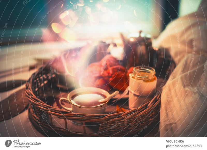 Cosy breakfast in bed by the window Croissant Nutrition Breakfast Beverage Hot Chocolate Coffee Crockery Cup Lifestyle Style Design Winter Living or residing